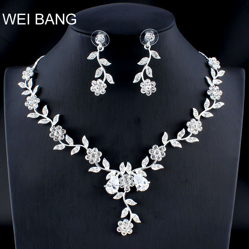 Weibang casado prata cor conjunto de jóias namorada colar brincos longos para mulheres africano acessórios casamento dropshipping