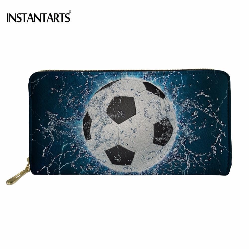 Moda instantánea Ice Soccerly estampado Hombre Long PU cuero Wallet moda diseño de pelota negocios tarjetas de crédito bolsas con cremallera titular
