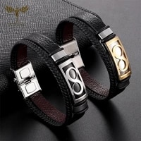 black leather infinity bracelets for couple men women multi layer woven leather bracelet stainless steel cuff bangle jewelry
