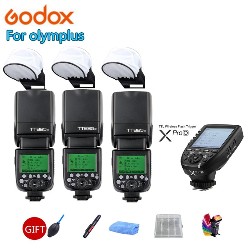 3X Godox TT685O 2,4G TTL GN60 Speedlite Cámara Flash xpro-o disparador para Panasonic DMC-G85 GH4 GF1 GX85 LX100 FX2500GK