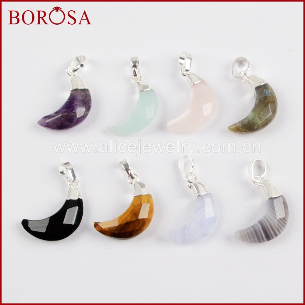 BOROSA 10 قطعة متعددة نوع الحجر الهلال الفضة اللون المعلقات Druzy الأوجه الطبيعية الأحجار قلادة لصنع قلادة WX905