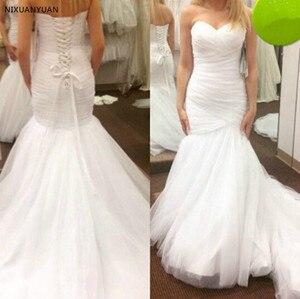 Vintage Vestido De Noiva 2021 Criss-cross Wedding Dresses Mermaid Sweetheart Tulle Plus Size Custom Made Wedding Gown