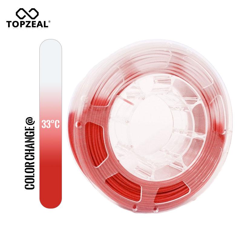 TOPZEAL 3D طابعة PLA درجة الحرارة تغيير لون خيوط ، الأبعاد دقة +/-0.05 ، 1 كجم بكرة ، 1.75 مللي متر ، الأحمر إلى الأبيض