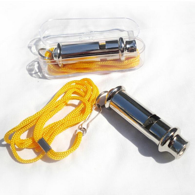 1PC métal arbitre sifflet avec lanière cou corde cordon durgence sécurité en plein air balle sport jeu chien formation sifflet