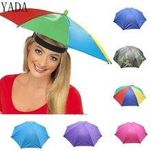 YADA Outdoor Umbrella Hat Novelty Foldable Sun&Rainy Day Hands Free Rainbow Folding & Waterproof Multicolor Hat Cap Stock YS0018