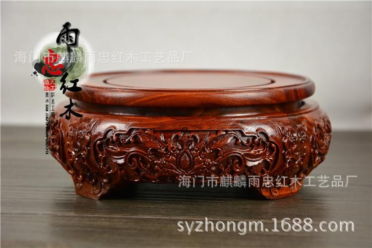Base de Pedestal Zhong Nova Mogno Pedestal Vermelho Sândalo Vaso Aquário Bonsai Potes Boutique Esculpido yu