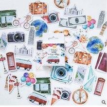 Autocollant de voyage classique rétro Vintage   Étiquette Scrapbooking, décoration pour journal intime, papeterie pour bloc-notes, bricolage, 46 pièces
