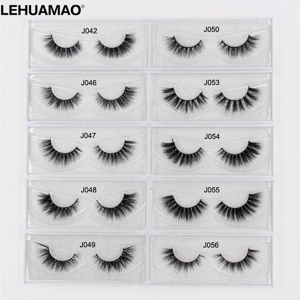 LEHUAMAO Mink Eyelashes Long Lasting 3D mink lashes Cross thick extension Mink False Lashes High Volume Dramatic eye lashes New недорого