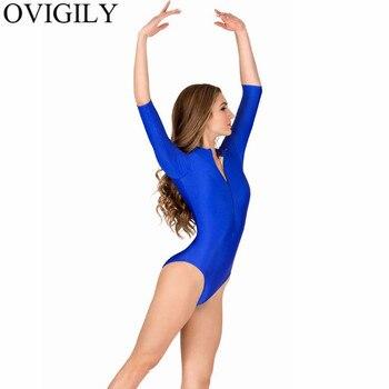 OVIGILY Womens Spandex Royal Blue Ballet Dance Leotard Girls Lycra Gymnastics Leotards 3/4 Sleeve High Neck Fitness Bodysuits