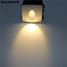 Lámpara de pared Luz de escalera Led 3W lámpara de pared LED empotrada cuadrada Luz de aluminio luz de curva para Sendero escalera NR-08 de sótano