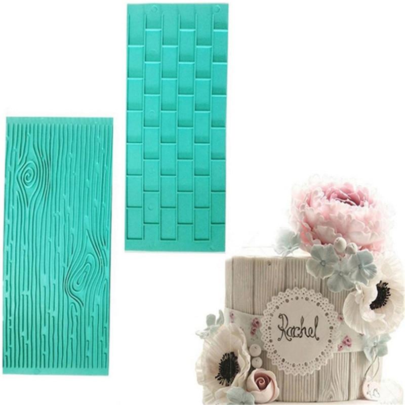 2pcs/pack Texture Silicone Mold Of Tree Bark + Brick Wall Silicone Mat Fondant Cake Decorating Tools Bakeware QB896226