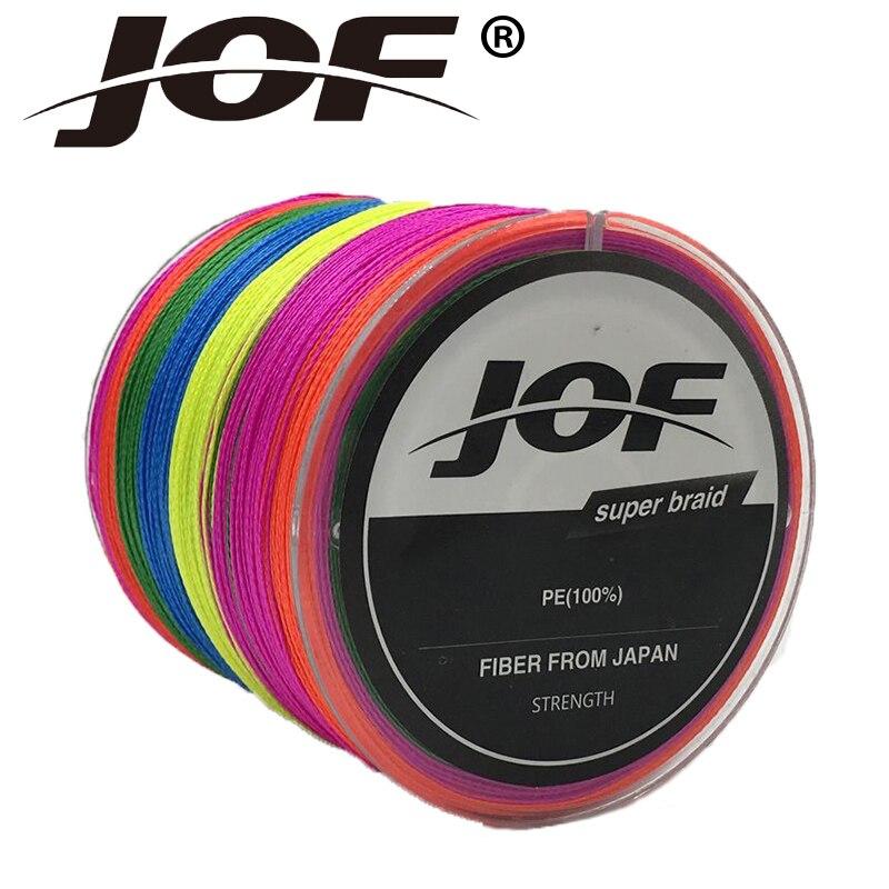 JOF Super fuerte 300M 4 stands multifilamento PE trenzado hilo de pesca multicolor para herramientas de pesca mosca hilo de pesca