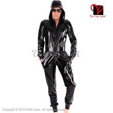 Noir vestes à capuche sexy Latex Catsuit avec ceinture caoutchouc zentai justaucorps chat costume manches longues unitard corps bas pull LT-086