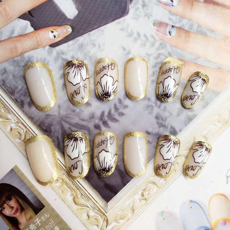 Fashion Round False Nails Natural White Fake Nail Glitter Gold Flower Words Nails Art Tips Press On Nail Z089