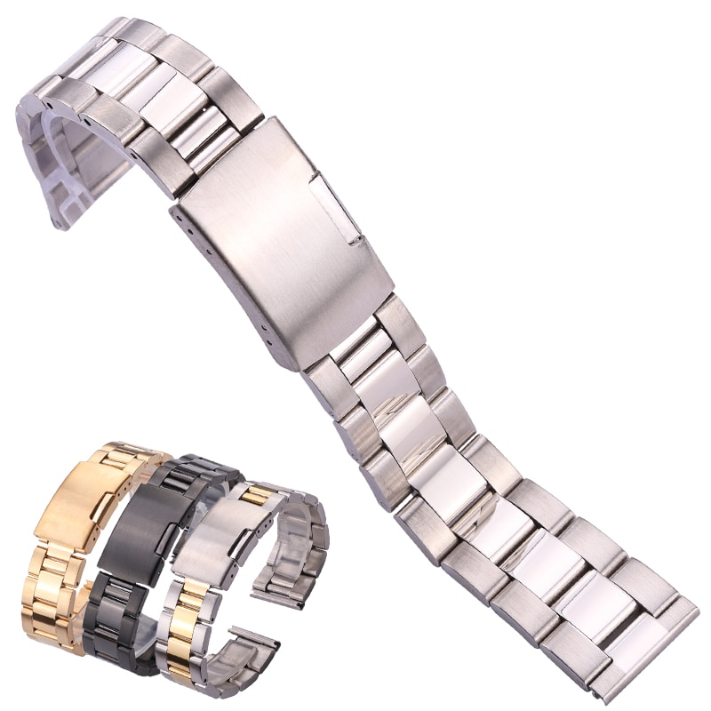 Solid Stainless Steel Watch Band Bracelet Straight End Strap 18mm 20mm 22mm 24mm Gold Silver Black Watchband Accessories stainless steel watchband bracelet 20mm 22mm men metal brushed curved end watch band strap clocks accessories