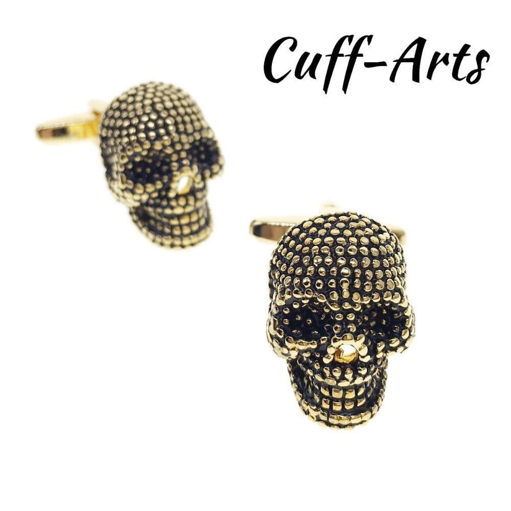 Cufflinks for Men Skull Cufflinks Gold Color Mens Cuff Jewelry Mens Gifts Vintage Cufflinks Gemelos  by Cuffarts C20184