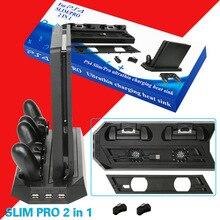 PS4 2 en 1 support Vertical avec double contrôleur Station de charge Dock 3 HUB Port ventilateur de refroidissement pour Sony PlayStation 4 PS4 Slim Pro