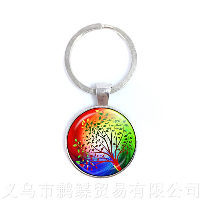 Tree Of Life Pattern Picture KeychainsTime Glass Jewellery Pendant Keyring Glass Ornaments Gift For