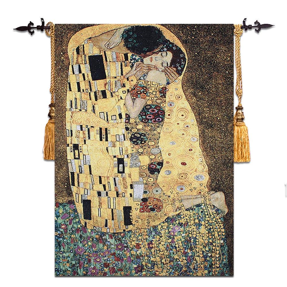 90x140cm Gustav Klimt-kiss regalo de boda símbolo de amor colgante de pared tapiz vestido de mujer hogar tela textil Aubusson