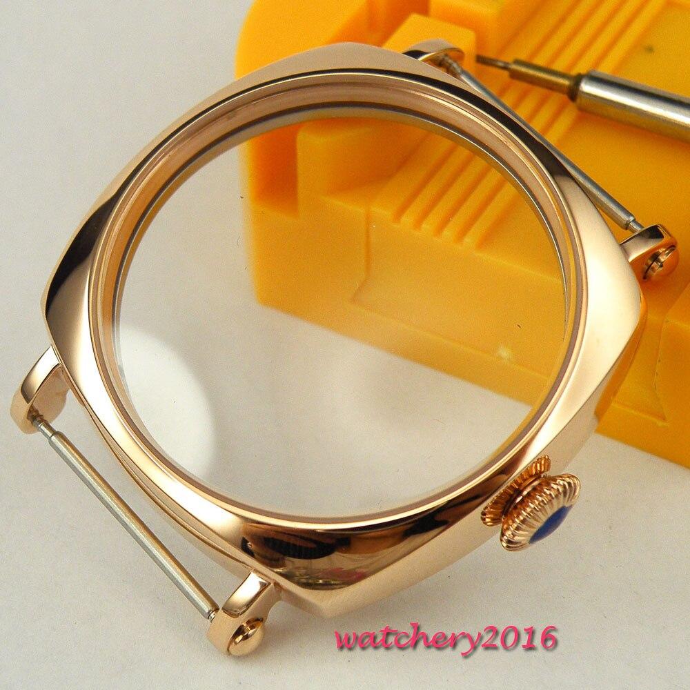 حافظة ساعة عالية الجودة ، 44 مللي متر ، فولاذ مقاوم للصدأ ، مطلية بالذهب ، تناسب حركة 6498 و 6497 ، معدنية صلبة ، جديدة