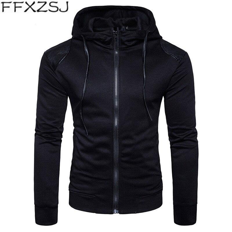 FFXZSJ brand European yards. New casual men's hooded jacket with shoulder peelings S-2XL