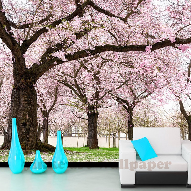 Papel tapiz de flores de cerezo papeles pintados 3D, árbol de flores rosa romántico personalizado, murales para fondo de TV, papel de pared Sala de bodas