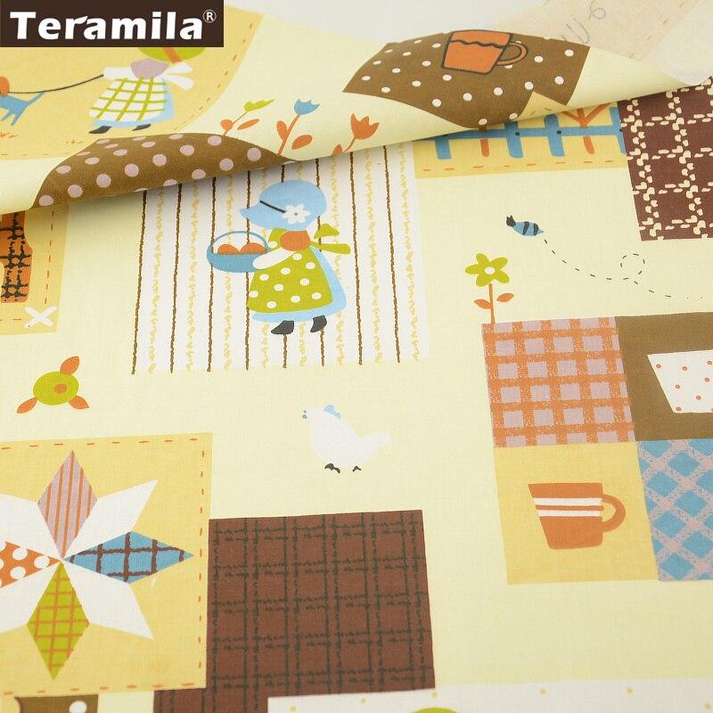 2016 Inicio Tema Patrón 100% Tela De Sarga De Algodón Trimestre Grasa Textiles Para El Hogar Sábana Tela de Patchwork Quilting Coser Tecido