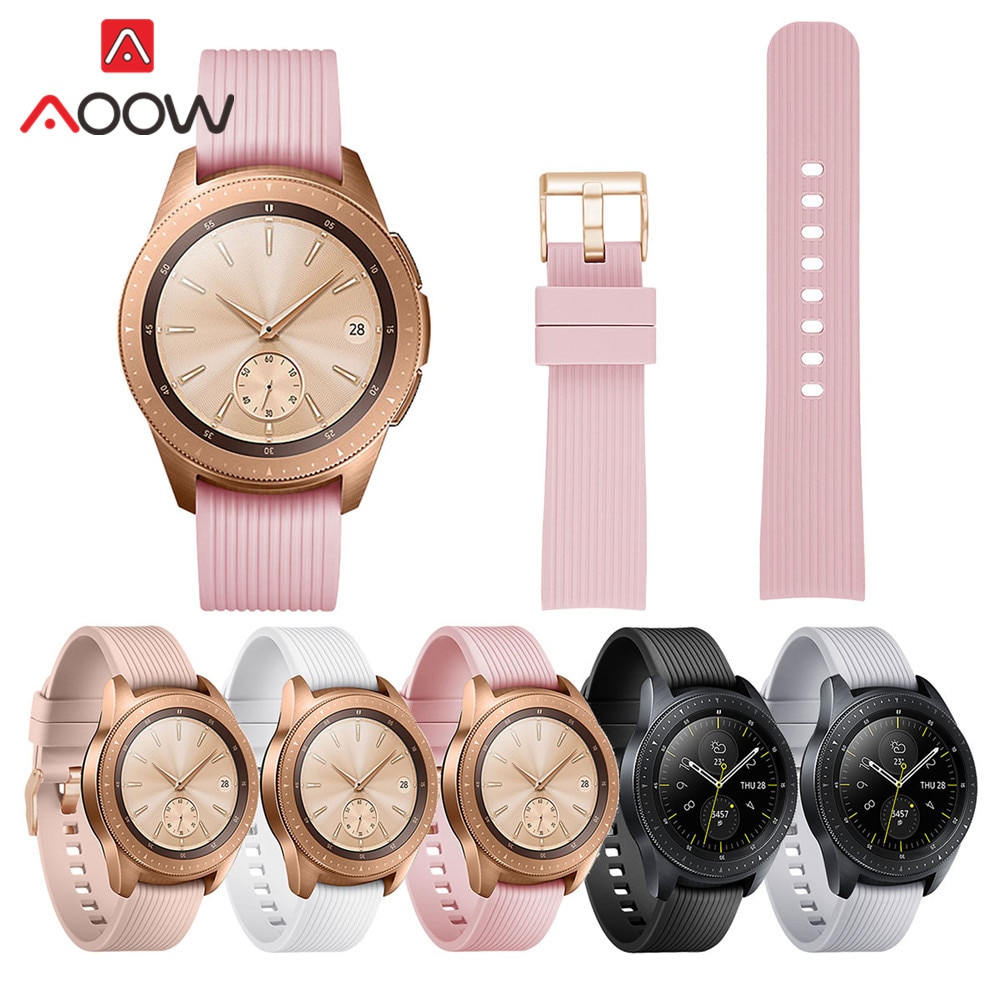 20mm Striped Silicone Watchband for Samsung Galaxy Watch Active 42mm Gear S2 Rose Gold Buckle Replacement Bracelet Band Strap