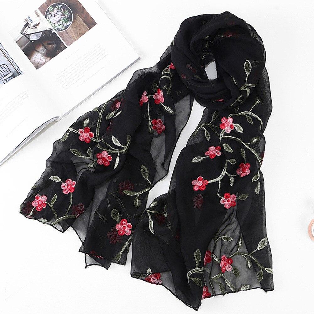Женский пляжный шарф, шифоновый шарф с цветочной вышивкой, хиджаб, повязка на голову, мусульманский хиджаб, Пляжная накидка, лето 2019
