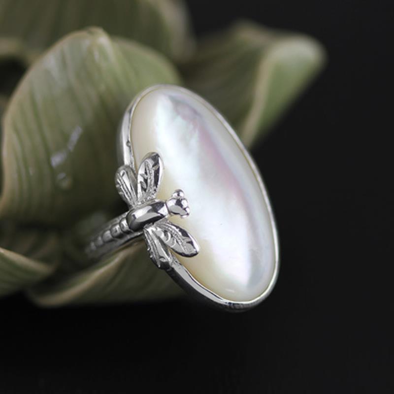 Anillos de libélula de Plata de Ley 925 de INATURE para mujer, anillo de declaración de concha Natural, regalos de joyería para fiestas