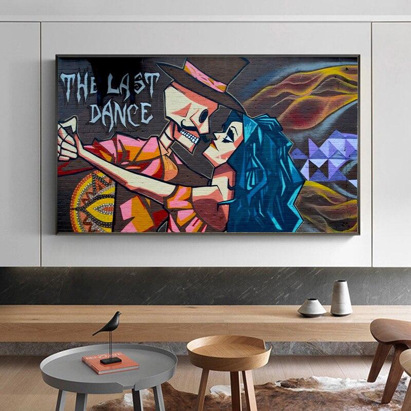 אנוכיים גרפיטי רחוב אמנות קיר מציאותי שמן ציור האחרון ריקוד בד הדפסת כרזות קיר תמונות לסלון