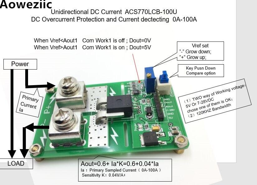 Aoweziic ACS770LCB-100U اتجاه dc رانج كشف مدى الحماية الحالية وظيفة الحماية الحالية: 0A-100A