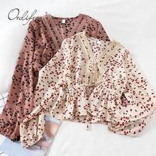 Ordifree 2020 été automne femmes en mousseline de soie Blouse et hauts à manches longues Vintage amour impression dentelle florale au Crochet Blouses chemises