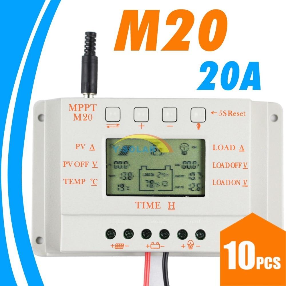 Controlador de carga Solar LCD MPPT20, 10 Uds., 20A, 12V, 24V, funcionamiento automático, controlador de cargador de células de batería de Panel Solar para Sistema Solar PV