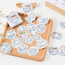 45 pièces/lot mignon bol chat papier décoratif adhésif autocollants dessin animé bricolage pour journal ALbum décoration Scrapbooking autocollants