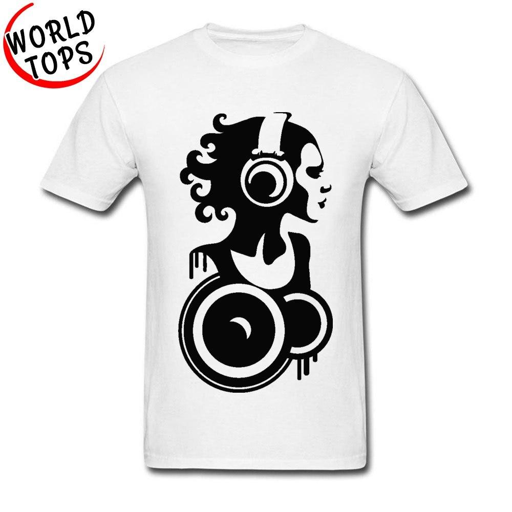 Camiseta de ejercicio 100% algodón de manga corta con auriculares para adultos, camiseta Normal, camiseta blanca de verano con cuello redondo, camiseta al por mayor