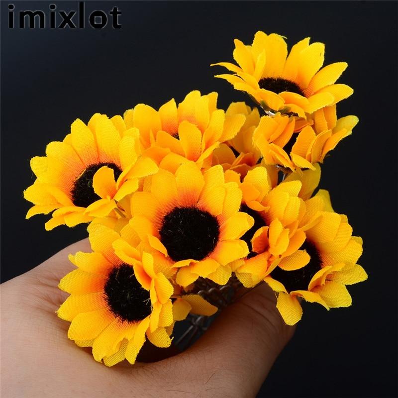 10 pçs flor amarela pinos de cabelo casamento nupcial grampos de cabelo da dama de honra acessórios para o cabelo feminino jóias hairpin atacado