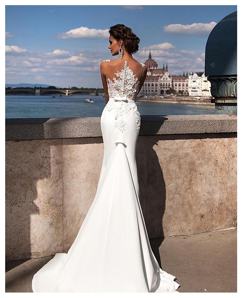 Купить с кэшбэком LORIE Boho Mermaid Wedding Dress 2019 See Through Neck Appliques Chiffon Bride Dress Long Train Sexy Wedding Gown For Women