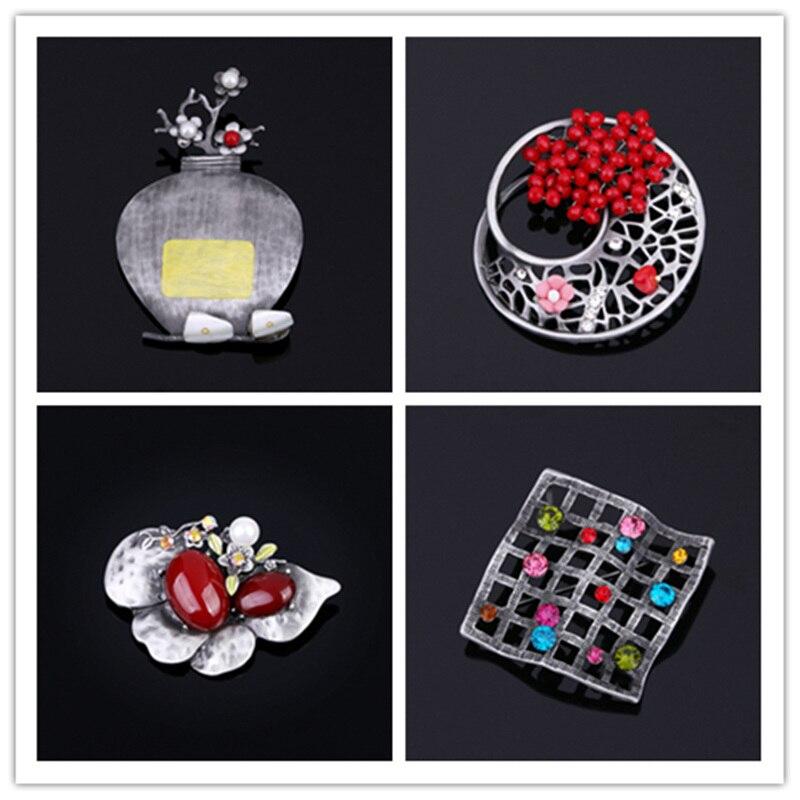 Broches florero de piedras semipreciosas de aleación Vintage hechos a mano, broches de flores, accesorios de hebilla para bufanda, joyería de moda para Woman-DYBHV015F