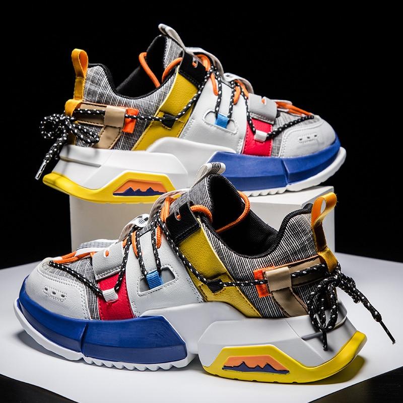 Primavera Hombre Hip Hop Zapatos de tacón alto coloridos Kanye gruesas Sneakers Cross Tied Tenis Casual Zapatos transpirables Hombre
