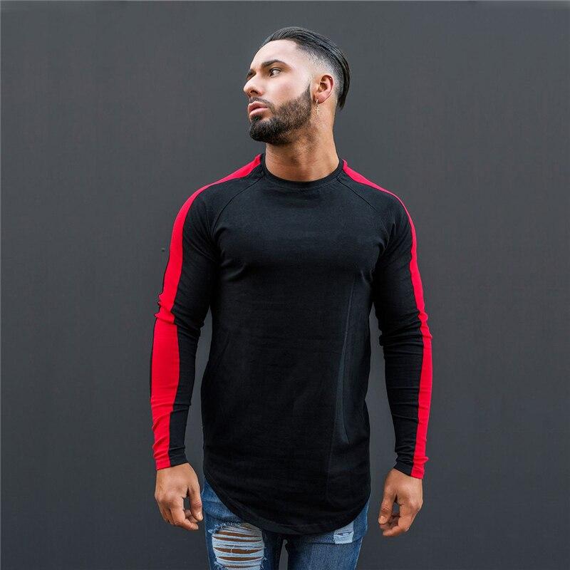 Nueva Camiseta deportiva de manga larga de retales para hombre, Camiseta deportiva de entrenamiento de gimnasia para hombre, camisetas de compresión Rashgard