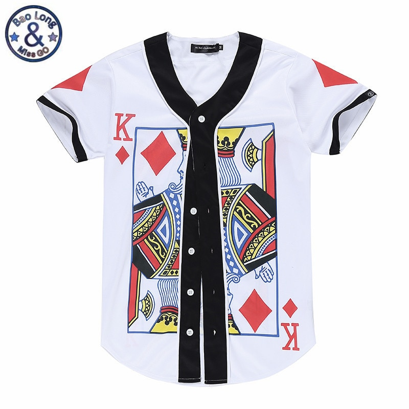 Naipes, camisetas para hombre, cárdigan, camisa de póker K, botones impresos, camiseta abierta para verano