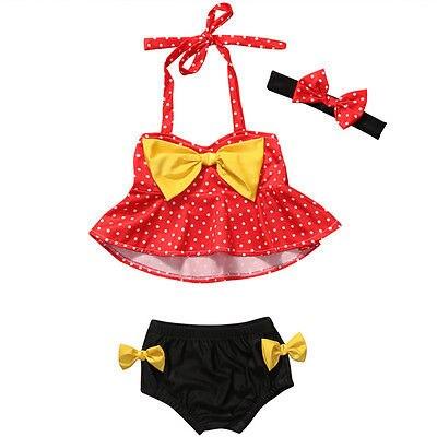 2017 sommer Kind Babys 1-4Y Tankini Bikini Gesetzte Badebekleidung Dot Print Bogen Badeanzug Badeanzug Beachwear + Stirnband 3 stücke
