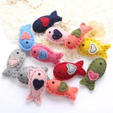 1Piece Wool Felt DIY Craft Fish Heart Design Poke DIY Kits Multiuse Christmas Tree Decorations Brooch Children Hair Band 4Styles