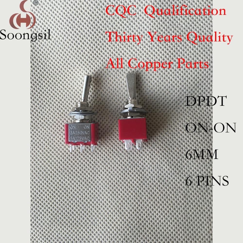 5 uds./lote, envío gratis, nuevo, interruptor de palanca de 6 pines ON-ON DPDT CQC UL ROHS, punto plateado, CA 6 A/125 V 3 A/250 V