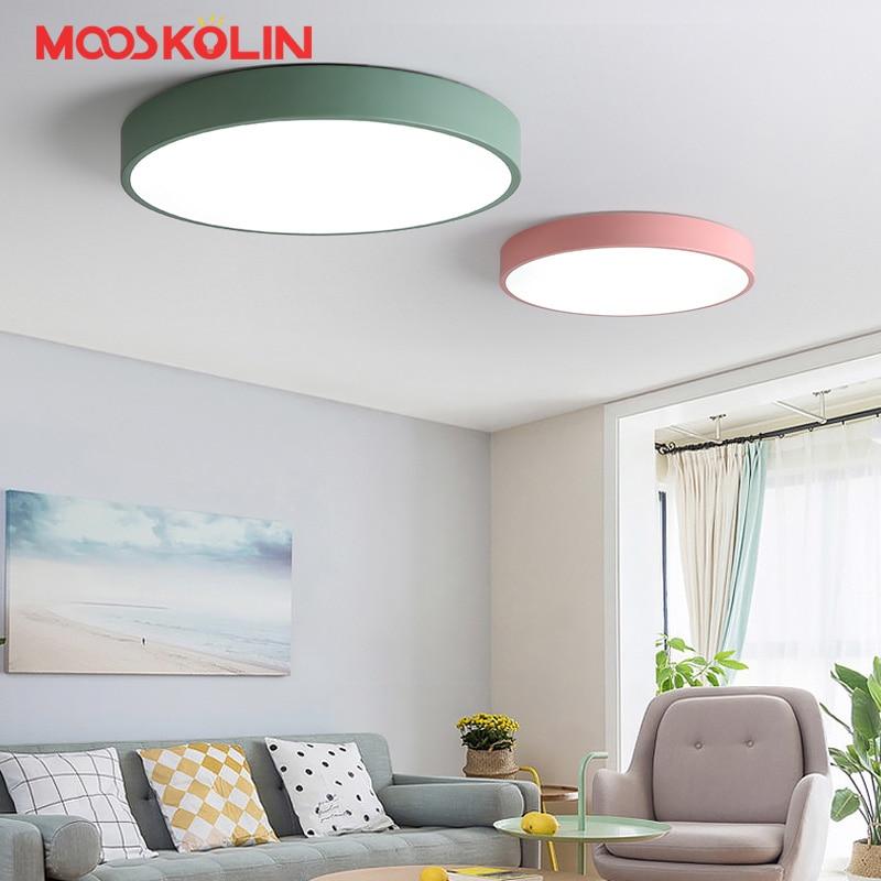 Скандинавские современные круглые светодиодные потолочные светильники с регулируемой яркостью для гостиной, детской комнаты, Macarons, акрило...