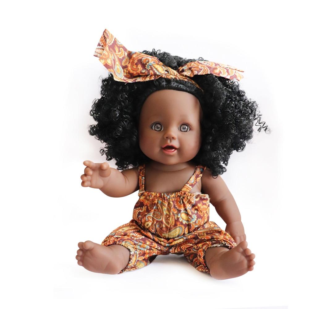 12 Polegada bonecas do bebê para africano-americano realista vinil preto reborn bebe bonecas bonecas pretas com cabelo natural moda vestido
