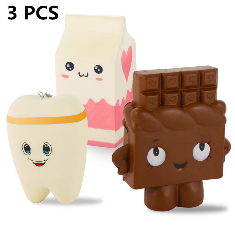 Paquete de 3 Squishies Jumbo Squishy dientes caja de leche Chocolate forma Linda lenta Rising para la diversión estrés aliviar el juguete de regalo
