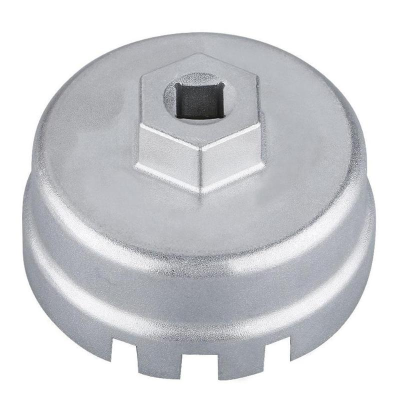 Universal aluminio 14 tapa para ranuras llave de filtro de aceite caja herramienta removedor para TOYOTA Corolla para Axio para Lexus CT200h 64,5mm