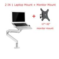 OZ-1S Aluminum 2 in 1 Mount 12-17 inch Laptop Holder + 17-32 inch Monitor Holder Gas Strut Arm Desktop Support Bracket Load 8kgs